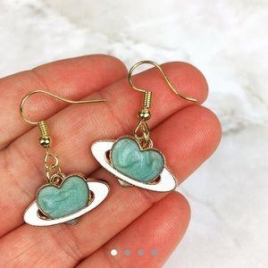 3/$15 Blue Planet Heart Dangle Earrings